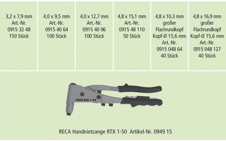 RECA- Sortiment Multiniete Aluminium + Zange 480 Tlg.