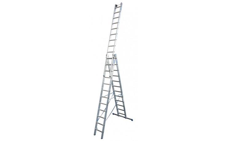 Stabilo Alu-Vielzweckleiter, Sprossen 3x12, Arbeitshöhe 4,40-9,30 m, 27,5 kg