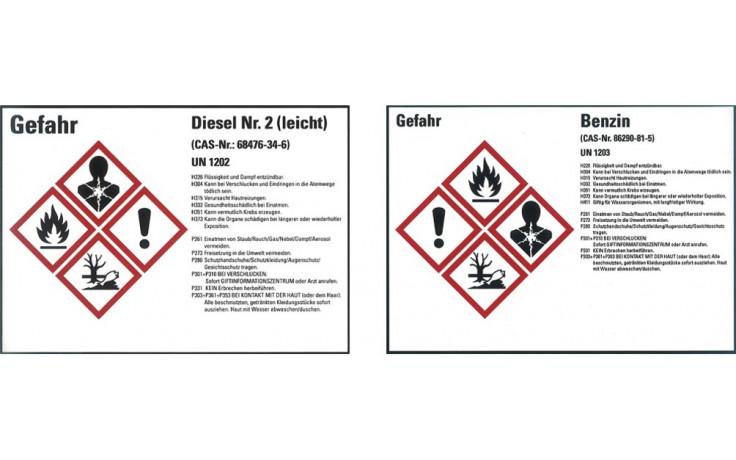 Diesel UN 1202, Gefahrstoffetiketten gemäß CLP/GHS, PVC-Klebefolie 105x148 mm