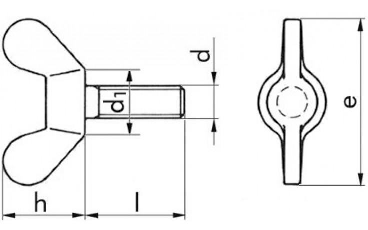 Flügelschrauben M6 x 50 DIN 316 Temperguss verzinkt
