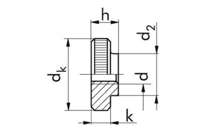 Rändelmutter DIN 467 - Stahl - blank - M5