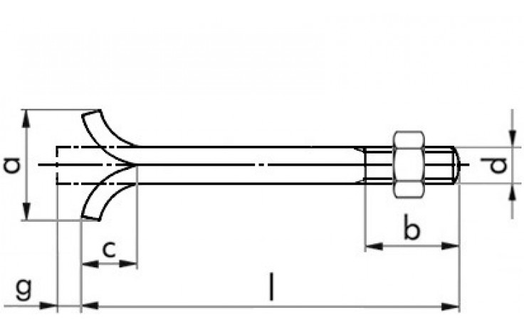 Steinschraube DIN 529C - 4.6 - blank - M12 X 250 - mit Mutter