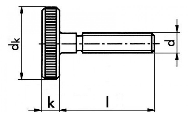 Rändelschrauben M6 x 20 FKL 5.8 DIN 653 Stahl verzinkt