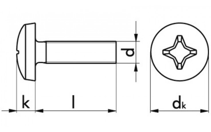 Gewindeschraube m. Linsenkopf+PH-Schl. M5x12 DIN 7985 Polymid