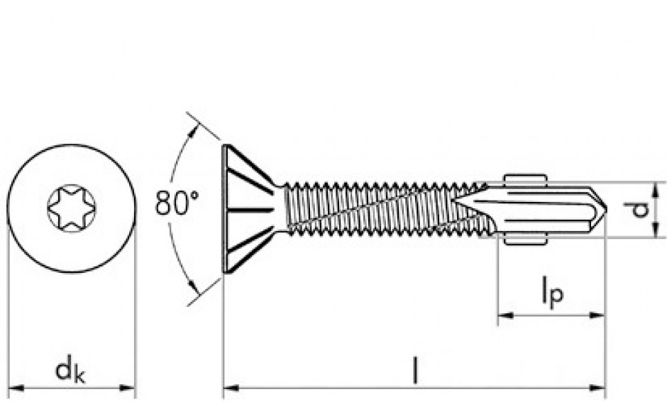 RECA Flügel-sebS Stahl verzinkt Fräsrippen Senkkopf 12,4 mm TX 30 6,3 x 45 mm