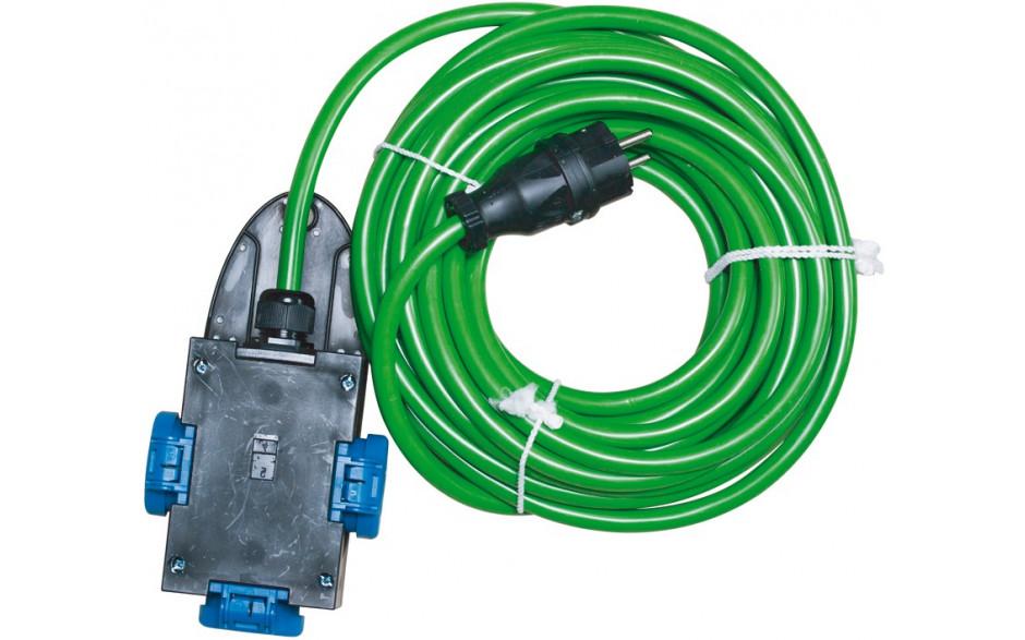Baustellenverlängerungskabel 10 m. AT-N07V3V3-F3G2,5 grün mit 3-Fachverteiler