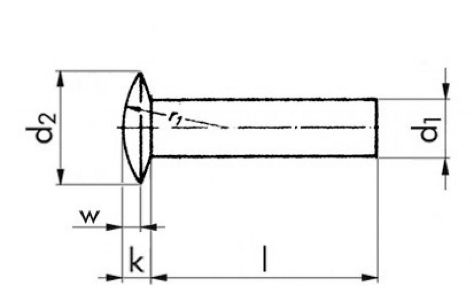 Linsenniete DIN 662 - Kupfer - 6 X 20