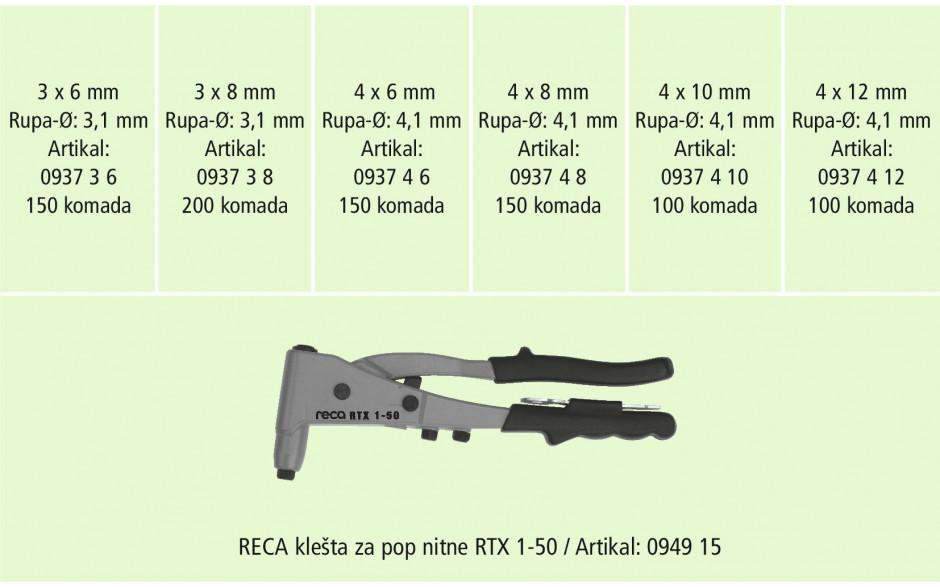 RECA Sortiment - Blindnieten Alu/Stahl mit Zange - 850-teilig