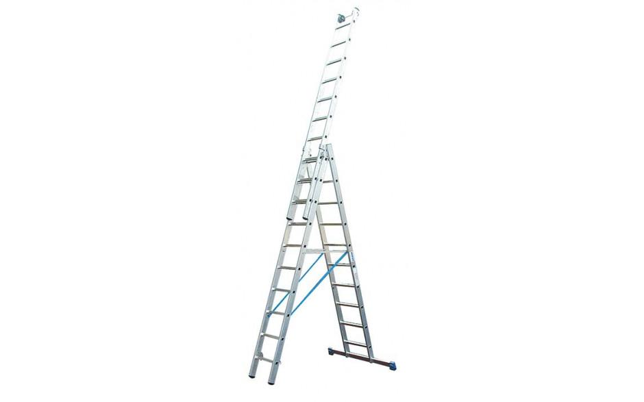 Stabilo Alu-Vielzweckleiter, Sprossen 3x10, Arbeitshöhe 3,90-7,65 m, 18,5 kg