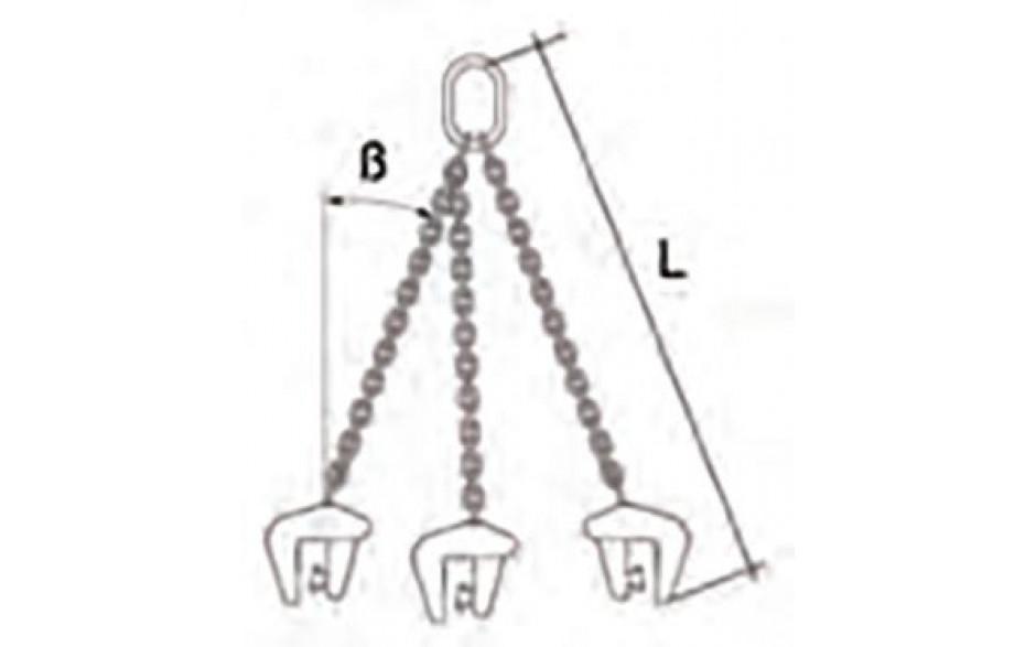 Betonrohrgreifer-Gehänge, 3-Strang, Läng 2000 mm, Tragkraft 2500 kg