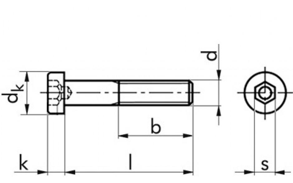 Zylinderschraube DIN 6912 - 08.8 - Zinklamelle silber - M6 X 12