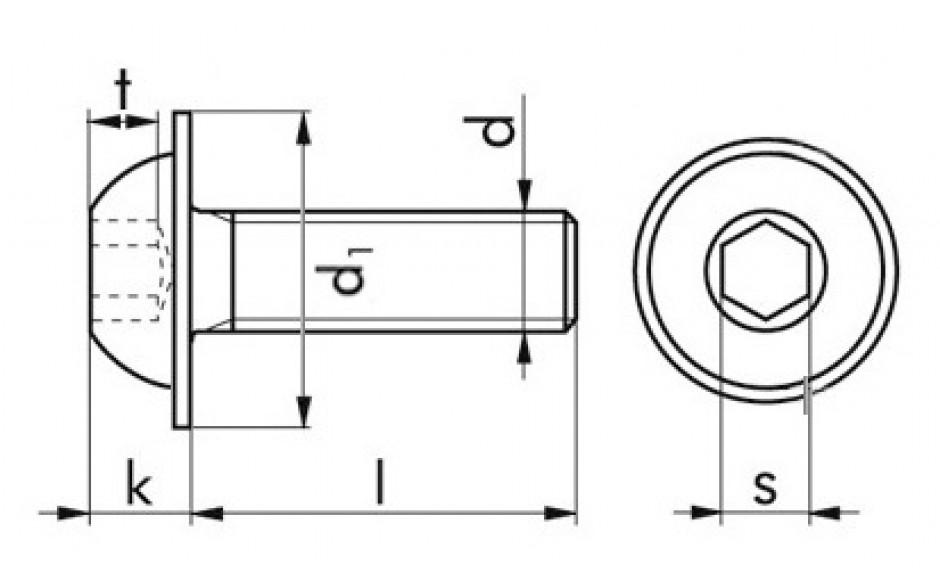 Halbrundkopfschraube ISO 7380-2 - A2-070 - M4 X 20