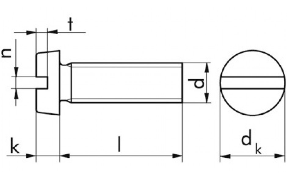 Gewindeschr. mit Zylinderkopf und Schlitz M3 x 5 DIN 84 Messing blank ISO 1207