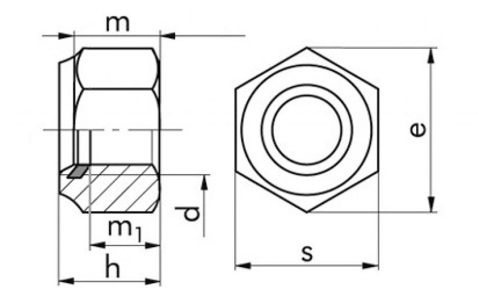 Sicherungsmuttern mit Polyesterring M8 DIN 985 Edelstahl rostfrei A2