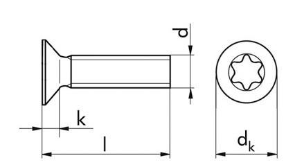 Senkschrauben ISO 14581 mit TX-Antrieb 25 Stahl M5 x 16 FKL 4.8 verzinkt