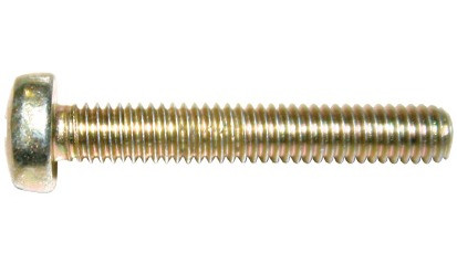 Linsenkopfschrauben m. Kreuzschlitz DIN 7985 6 x 10 mm FKL 4.8 gelb verzinkt