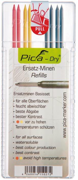 Ersatzminen PICA Dry Gelb/Rot/Graphit