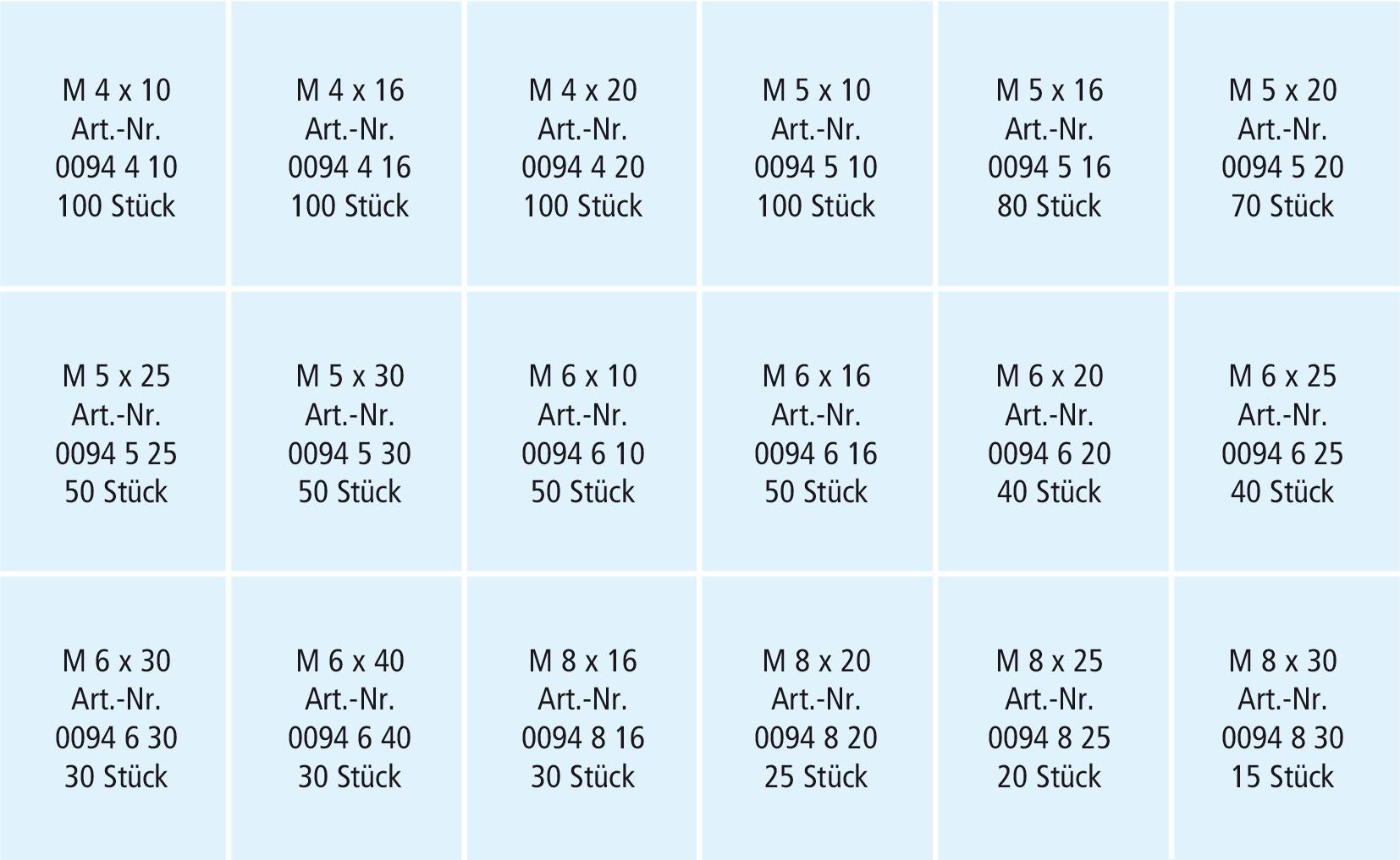 RECA Sortiment Zylinderschrauben DIN 912 / ISO 4762 Edelstahl A2-70 M 4 - M 8 980-teilig