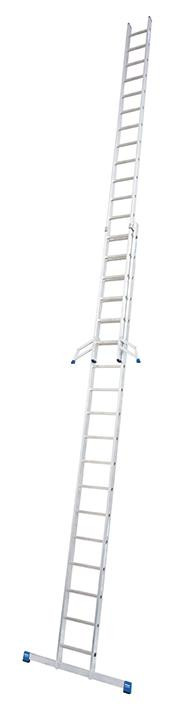 Stabilo Alu-Schiebeleiter,2x18Sprossen,Länge5,20/9,15m,Arbeitshöhe9,85m, 25,5kg