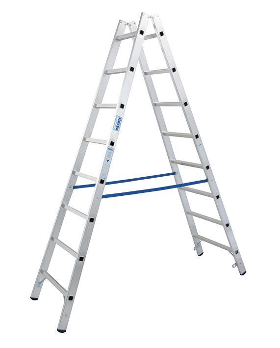 Stabilo Alu-Doppelleiter, Sprossen 2x8, Höhe 2,35 m, Arbeitshöhe 3,55 m, 8,5 kg