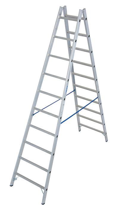 Stabilo Alu-Doppelleiter, Sprossen 2x10, Höhe 2,90 m, Arbeitshöhe 4,10 m,10,7 kg