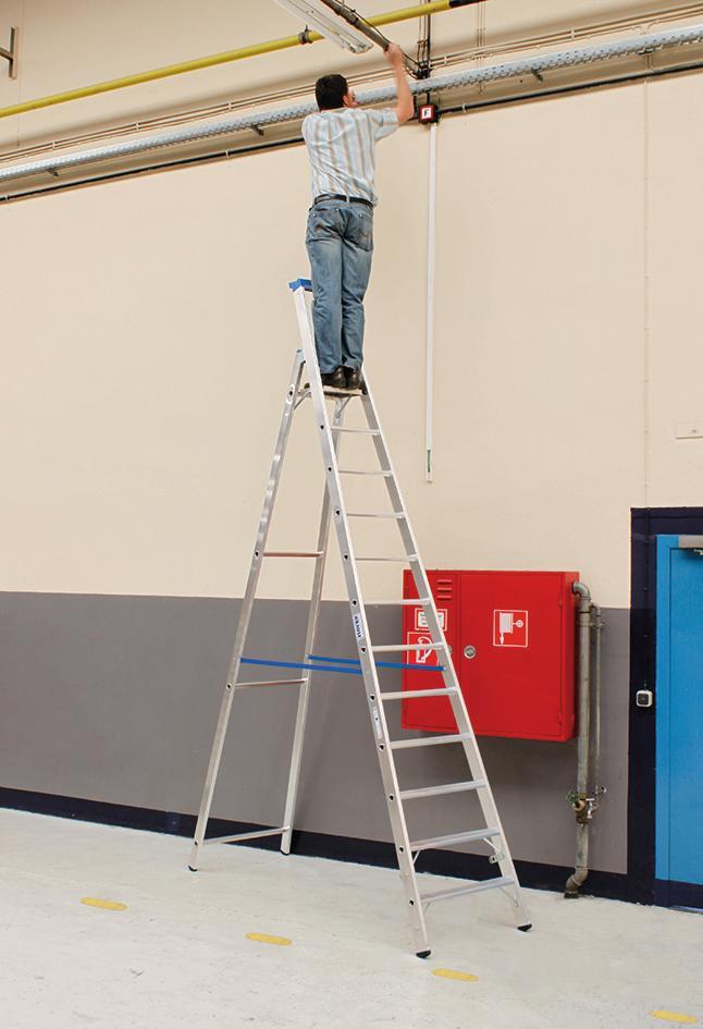 Stabilo Stufen-Stehleiter,Sprossen12,Höhe 3,70m,Arbeitshöhe 4,80m,Gewicht15,6kg