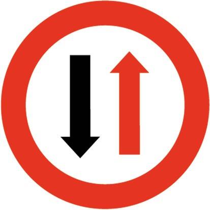 Baustellenverkehrszeichen § 52/5 Wartepflich bei Gegenverkehr 670 x 1,5 mm