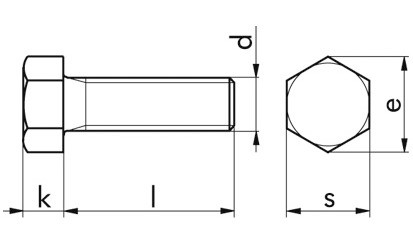 Sechskantschraube DIN 558 - 4.6 - verzinkt blau - M12 X 25