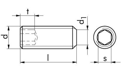 Gewindestifte mit Kegelkuppe DIN 913 / ISO 4026 Edelstahl A2-21H M 2 x 8 mm