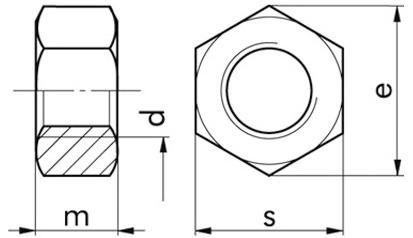 Sechskantmuttern M10 ISO 4032 Messing blank