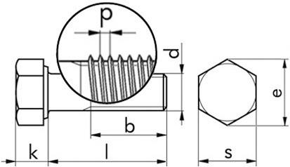 Sechskantschraube DIN 960 - 8.8 - verzinkt blau - M12 X 1,5 X 130
