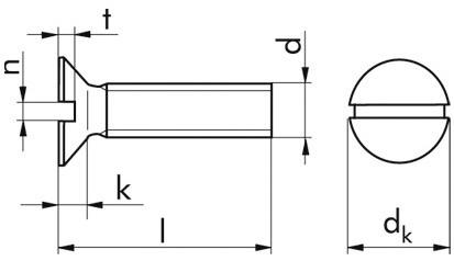 Senkkopfschrauben mit Schlitz M 5x10 DIN 963 Polyamid