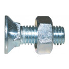 Pluhové skrutky so štvorhranom + maticami, M10x60 mm, DIN 608, pevn.tr. 4.6, pozinkovaná oceľ